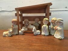 12 Piece Children's Nativity Scene Porcelain Figures & Musical Wood Stable