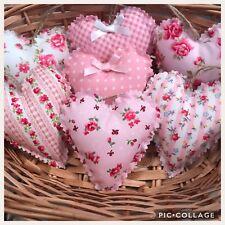 Set Of 7 Handmade Fabric Hanging Love Hearts