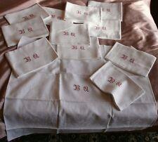 12 Serviettes fin XIXème de style LOUIS XV en damas de coton - Monogramme B Q