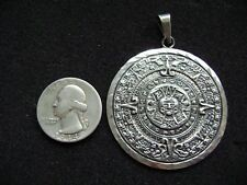Early Vintage 1960's Sterling SIlver Mexican Mayan Calander Pendant