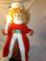 1990 Telco Motionette Christmas Moving Girl Caroller w/ Lighted Candle in Box