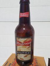 "HUGE Bud Budweiser  MILITARY 15"" Tall Glass Beer Bottle King Pitcher  RARE  VHTF"
