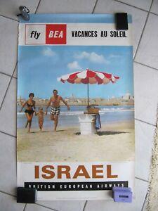 BEA BRITISH EUROPEAN AIRWAYS ISRAEL Vintage 1963 Travel Agency poster 65x100cm
