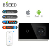 WLAN Touch Lichtschalter WIFI EU Steckdosen Smart 1/2/3Fach 1/2/3Weg Wand TUYA