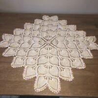 "Vintage Hand Crocheted Doily 36"" Rd Table Topper Centerpiece Ivory Pineapple"