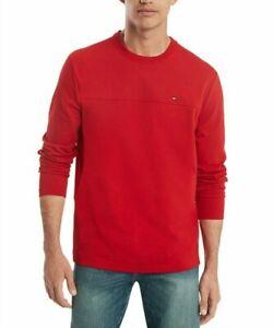 Tommy Hilfiger Men's Apple Red Delancey Crew-Neck Long Sleeve T-Shirt