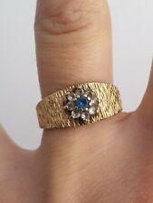 W&G 375 9ct Gold Cluster Ring Blue Stone - Size N 3.3g