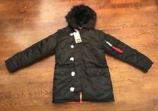 Alpha Industries Slim Fit N-3B Parka Jacket Black Orange Mens Sz Small Fur NEW!!
