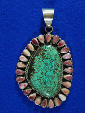 Navajo Bea Tom Turquoise Sterling Silver Rhodonite Edge Pendant Signed Marked