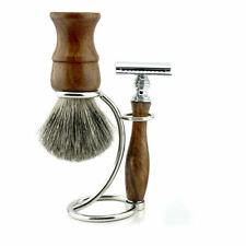 Vintage Wooden Shaving Kit Super Badger Brush, Dual Blades Shaver Trimmer, Stand
