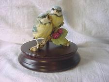 KAISER Bisque PAIR of TIT BIRDs Titmice GAWANTKA Original Wood Stand Fab Vintage