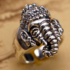 Men's Fine Solid 925 Sterling Thai Silver Ring Elephant King Size 9 10 11