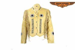 Women's Motorcycle Mustard Yellow Leather Jacket w/ Beads, Studs, Fringe & Bones