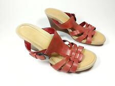 Clarks red leather wedge heel mules sandals uk 5 eu 38