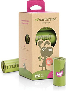 Earth Rated Dog Poo Bags Refill Rolls 120 Leakproof Lavender-scented on 8 Rolls