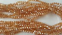 Joblot 10 strings (1200 beads) 4mm Light Gold clear AB Bicone Crystal beads new