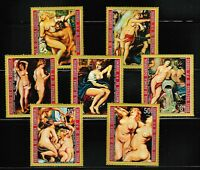 Rubens nude paintings set of 7 mnh stamps 1972 Equatorial Guinea