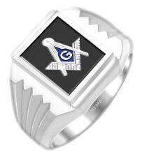 Men's Sterling Silver or Gold Plated Masonic Freemason Mason Solid Back Ring