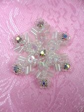 Sequin Applique Crystal AB Rhinestone Snowflake Christmas Decor Patch  XR284