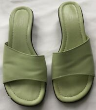 TALBOTS SLIDE WEDGE SANDAL SHOE LEATHER UPPER GREEN SIZE 7.5M