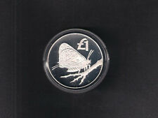 2002 CYPRUS WWF BUTTERFLY ONE POUND SILVER PROOF COIN with COA  & OFFICIAL CASE