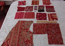10 French Antique c1870-1880 Turkey Red Cotton Fabric Samples~Quilters, Dolls