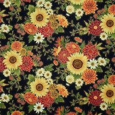 Hi-Fashion Fabric - Metallic Sunflower Fall Harvest Bouquet Black - Cotton YARD