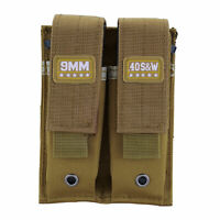 Coyote Tan Molle 9MM Mag Pouch Double Gun Pistol Magazine Pouch with Magic Tapes