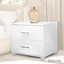 Two Drawers Bedside Table Unit Cabinet High Gloss Finish MDF Chest Lamp Cabinet