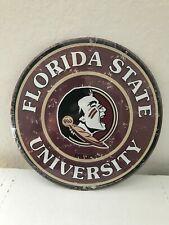 "FLORIDA STATE UNIVERSITY  12"" ROUND EMBOSSED METAL SIGN"