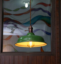 Industrial Green Porcelain Pendant Lamp Shade - Factory lampshade vintage