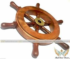 "6"" Wood Brass Ship Wheel Nautical Maritime Decor Captain Pirate Mad Over Decor"