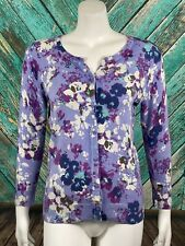 Merona Women's Cardigan Sweater Medium Purple Floral Knit Button Front Stretch