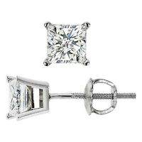 1.00ct Princess Cut Diamond Stud Earrings Platinum 950