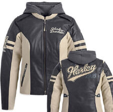 Harley Davidson Womens DUNDEE Off White Leather Jacket 3in1 Hoodie 97177-14VW XL