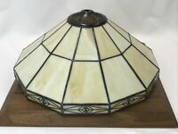 """Vtg Arts & Crafts Mission Stained Slag Glass Table Lamp Shade Tiffany Style 13"""""""