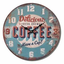 Distressed Retro DELICIOUS COFFEE Wall Clock 40 cm Analogue Blue Red Kitchen