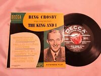 "Bing Crosby Sings Songs Hits from ""The King and I"" 45 RPM, RARE Decca Record"