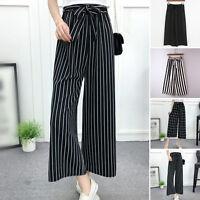 Womens Ladies High Waist Trousers Stripe Print Casual Loose Long Wide Leg Pants