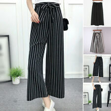 Fashion Womens High Waist Trousers Stripe Print Casual Loose Long Wide Leg Pants
