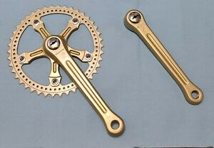 Vintage Peugeot Crankset Gold  Campagnolo Style BMX Single Old School Bike Crank