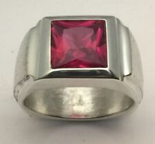 MJG STERLING SILVER MEN'S RING.10 X 10MM  SQUARE FACETED LAB RUBY. SZ 10