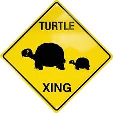 """TURTLE XING 12"""" x 12"""" Embossed Metal Crossing Sign - SALE"""