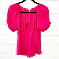 Joie Silk Flowy Rouched Sleeve Blouse Pink Size XS