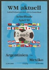 Programme Germany Soccer World Cup 2006 Argentina vs Mexico