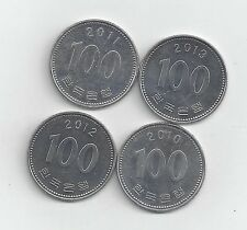4 DIFFERENT 100 WON COINS from SOUTH KOREA (2010, 2011, 2012 & 2013)