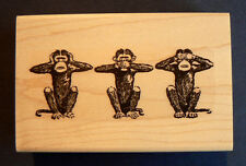 3 Monkeys hear,see, speak no evil rubber stamp WM P6