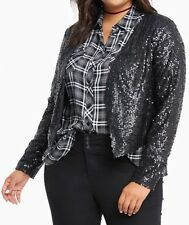 Torrid Plus Size 1 (14/16) 1X Black Drape Open Front Sequin Shrug Jacket NWT