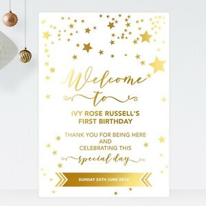 Welcome Sign For Christening Birthday Baptism Party Gold Effect Stars (ST20)