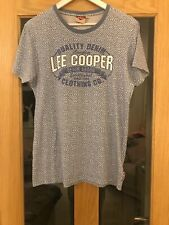 Lee Cooper Mens Blue Patterned  & Logo Size S Short Sleeved Tee Shirt Chest 40